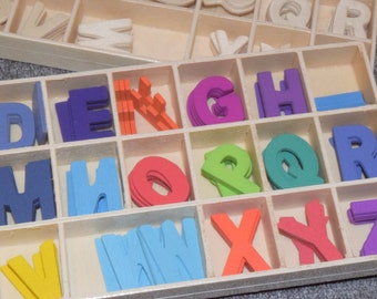 Alphabet box 190 letters of wood in natural colour or colours, 5 units of each letter measures width 14 / 15 mm high-approx 20 mm