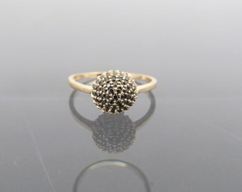 Vintage 18K Solid Yellow Gold Black Sapphire Ball Pave Ring Size 6