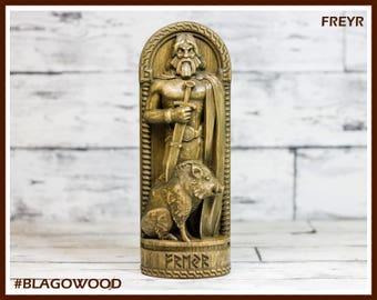 Wooden, Freyr, Scandinavian pantheon, Norse god, scandinavian god, handmade, Allfather, viking god, asatru, heathen, pagan