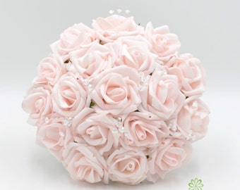 Artificial Wedding Flowers, Blush Pink Bridesmaids Bouquet Posy