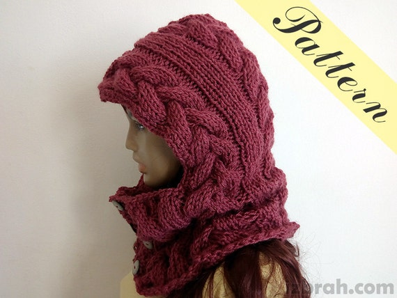 Hooded Neck Warmer Knitting Pattern : Knit cowl pattern, Button cowl, Button neck warmer, Hooded cowl pattern, Knit...