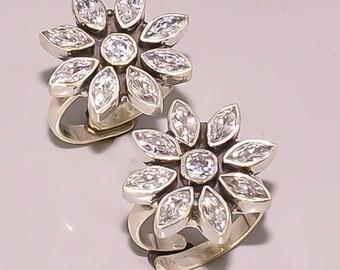 RR73 Beautifull White Topaz 925 Sterling Sliver Jewelry Toe Ring Pair