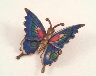 Vintage Blue Pink & Green Enamel Butterfly Brooch, Small Butterfly Pin, Vintage Brooch, Silver Tone Butterfly Brooch, Butterfly Jewelry