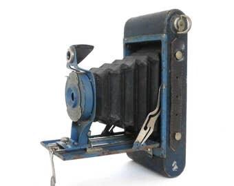 Vintage Blue Kodak Rainbow Hawkeye No. 2A Folding Model B Camera. Unique Old Eastman Kodak Co. Collectible Camera Blue with Black Bellows.