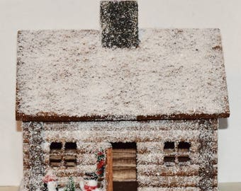Miniature Log Cabin Musical Snow Covered, Motion Sensor