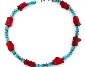 Bamboo Coral and Turquoise Necklace KT3678
