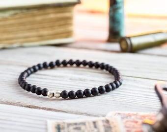4mm - Matte black onyx beaded stretchy bracelet with sterling silver beads, made to order mens bead bracelet, elegant mens bracelet