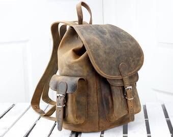 Vintage Large Leather Backpack 14011