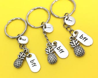 Bff keychain - Set Of Three, BFF charm, 3 BFF Keychain, Set of 3 Best Friend, Custom Keychain, Monogram, Initial Keychain, Gift BFF, Friends