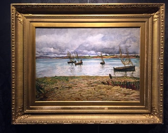 "Robert Walker MACBETH 19 Century Oil on Canvas ""Shipping scene"" Rehs Galleries, COA"