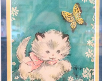 Vintage  1950's Vintage Kitten Picture,  One of a kind, Unique, Framed Art, vintage picture, kitten, vintage nursery, butterfly, cat,