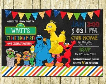 Sesame Street Printed Chalkboard Invitations