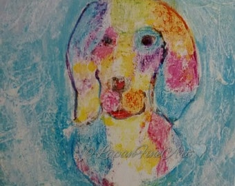 Artist trading card print, dog portrait,spaniel,print, atc, ACEO,dog,abstract,art,dog art,acrylic small print