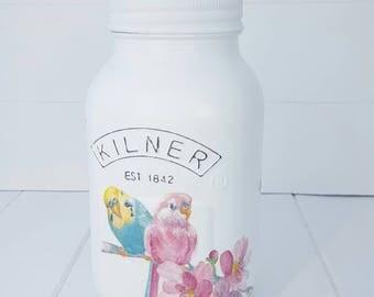 Budgie Kilner Jar, Budgie Vase, Budgie Mason Jar, Bird Kilner Jar, Bird Vase, Bird Mason Jar, Budgie Decor, Bird Decor