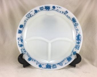 Pyrex Childrens Blue Train plate