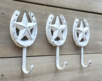 Texas Star and Horseshoe Cast Iron Wall Hook in Distressed Smoke Gray