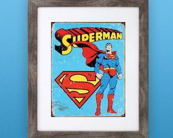Retro Superhero Print — Superman