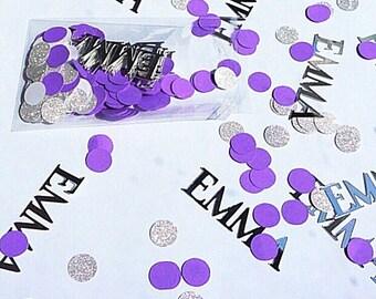 Custom name confetti. Purple and silver confetti.   Birthday confetti.   Wedding confetti.   Name confetti.  Glitter silver confetti