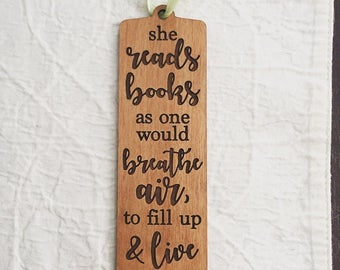 Engraved Quote Bookmark for Reading Lover - Anne Dillard