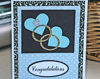 Wedding Ring and Tiffany Blue Hearts Card - Wedding, Ring, Congratulations, Card, Handmade, Diamond, Solitaire, Wedding, Band, Newlywed