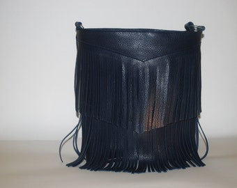 Blue bag with fringe Navy leather and handmade