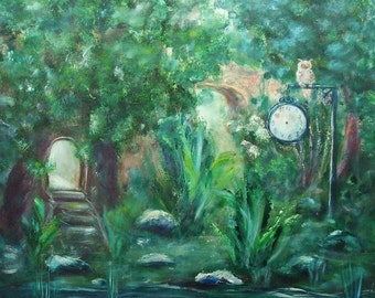 Canvas art birthday gift  Acrylic painting Fairytale art  Fantasy art Living room decor Green wall decor Nature Spirits Clock decor Owl art
