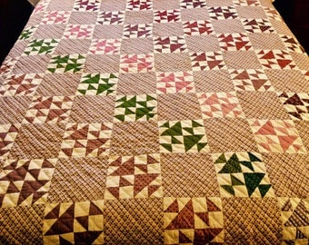 Fox and Geese Antique Quilt in Madder Browns and Madder Reds