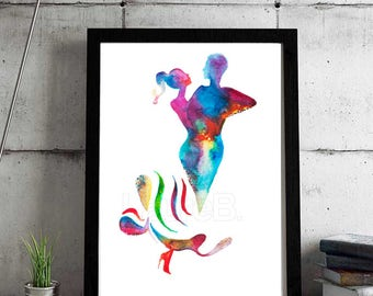 La première danse - Watercolor painting print - Dance art - Dance gift