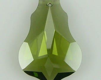 30mm faceted CZ cubic zirconia baroque pendant khaki 4880