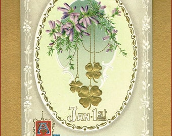 1911 Embossed Happy New Year Postcard
