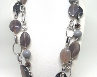 Gorgeous Three Shades Of Gray Beaded Silver Tone Necklace