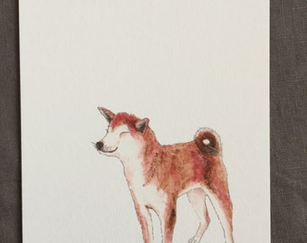 Illustrated dog postcard Shiba inu