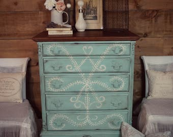 SOLD | Aqua/turquoise blue antique shabby chic distressed tall boy dresser & cream hand-painting, chalk painted furniture, upcycled dresser
