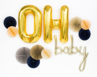 """Giant Oh Baby Balloons / 46"""" White Gold Baby Script Balloon & 34"""" Giant Gold Letter Balloons / Baby Shower Decor / Gender Reveal Party"""