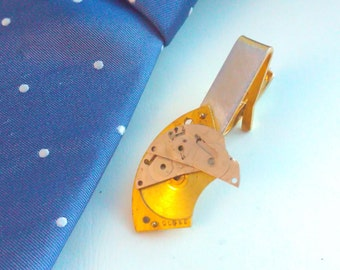 Upcycled, watch plate, tie clip, steampunk tie slide, steampunk tie clip, steampunk tie, handmade tie clip, bridegroom, wedding, steampunk