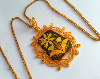 vintage, Damascene, pendant, Toledo, vintage Damascene pendant, vintage Damascene, Damascene necklace, vintage Damascene necklace, flower