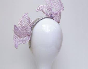 Lilac lace headpiece / fascinator