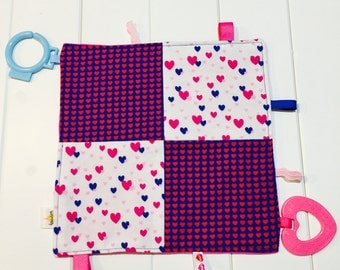 Baby Girl Sensory Crinkle Taggie. Pink and Blue Hearts with Fuchsia Minky Backing