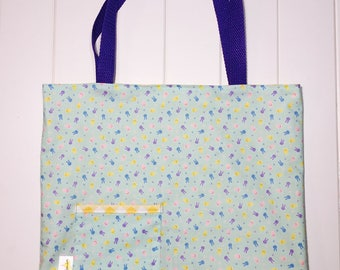 Reversible Tote Bag. Errand Bag. Gift Bag. Library Bag. Pink, Purple and Yellow Bunnies on Mint. Yellow and White Diagonal Checkered Lining
