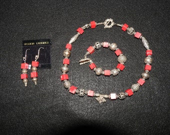 Red Coral Square and Bali Silver Necklace, etc