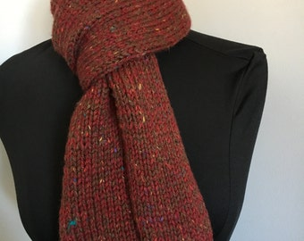 Knitted Classic Long Red Tweed Scarf