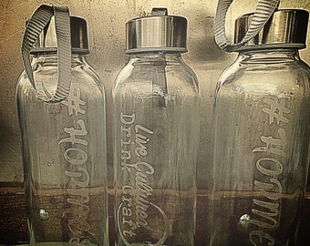 Custom Etched Glass Water Bottle