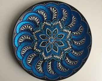 Decorative Hand painted plate. Galaxy. Home decor. Women Gift idea. Handmade. Ceramic dish. Mandala tray. Interior design. Blue White Silver