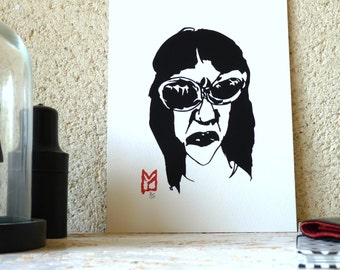 Original drawing ink - woman in sunglasses - limited edition digital print / signed / numbered