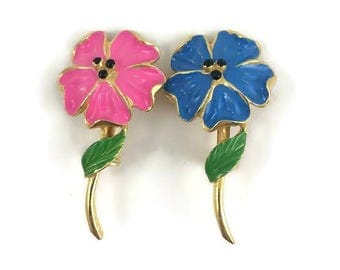 Pair of Small Pink and Blue Enamel Flower Pins - Pink Enamel Pansy Brooch - Blue Enamel Pansy Brooch - Gold Tone Metal with Enamel Flowers