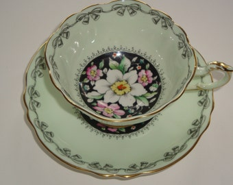 DW Paragon Pastel Green w Floral on Black Cup and Saucer