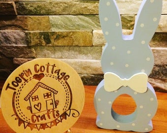 Wooden Easter bunny egg holder decoration keepsake ornament