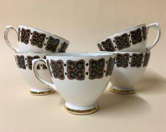Set of five vintage Delphine tea cups