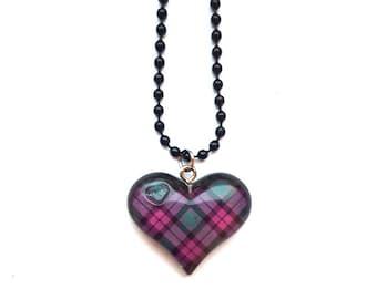 Tartan Heart Necklace ~ Scottish pink purple tartan heart necklace