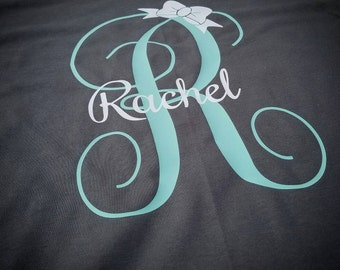 Monogrammed Shirt, Monograms, Monogram Tee, monogram,  Girl's shirt, Girl's monogram tee, girl's monogrammed shirt, monogram shirt